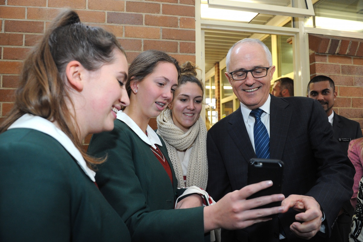 Malcolm Turnbull visits Santa Sabina College in Strathfield, inner-west Sydney, on Friday