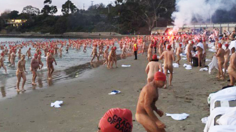 No cold feet, but towels in short supply after winter nude swim