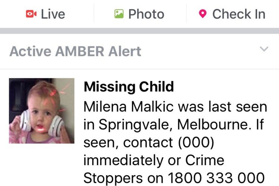 AMBER alert rolled out on Aust Facebook