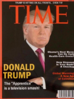 A fake framed Time magazine cover of President Donald Trump was spotted in one of his golf club's