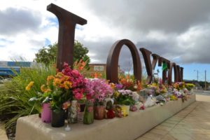 Flowers left at Loxton for Kirsty Boden