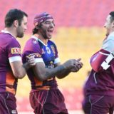 Johnathan Thurston having a laugh with Billy Slater and Cam Smith