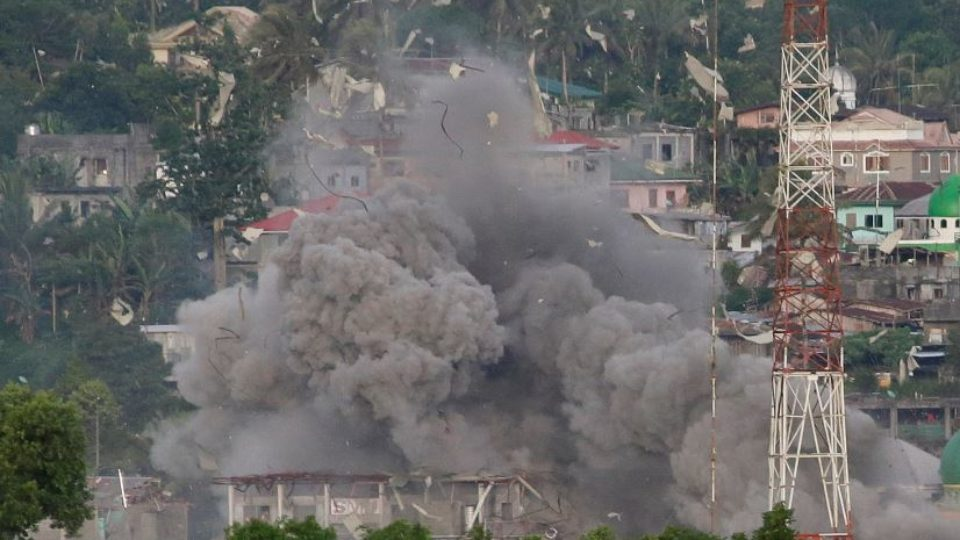 A pall of smoke rises from a Philippine Air Force strike on a suspected ISIS bunker in Marawi