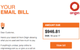 A scam email purporting to be an Origin energy bill