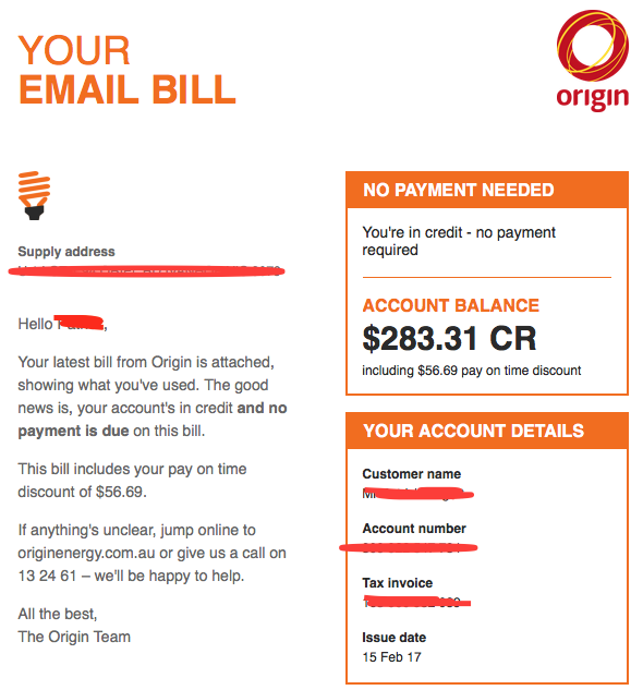 The scam looked remarkably similar to a genuine Origin energy bill (pictured)