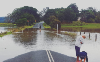 Floodwaters at Wooyung in the NSW Northern Rivers