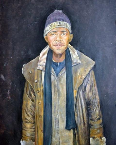 Portrait of Barack Obama as a refugee by Syrian artist Abdalla Al Omari