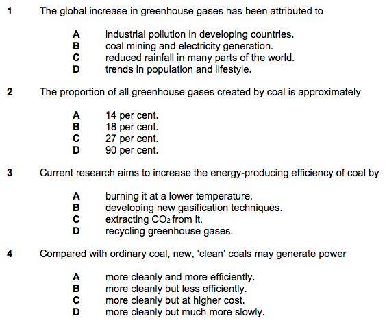 Some of the questions on coal included in the English proficiency test for citizenship