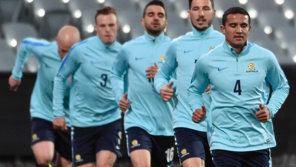 Tim Cahill leads Socceroos training