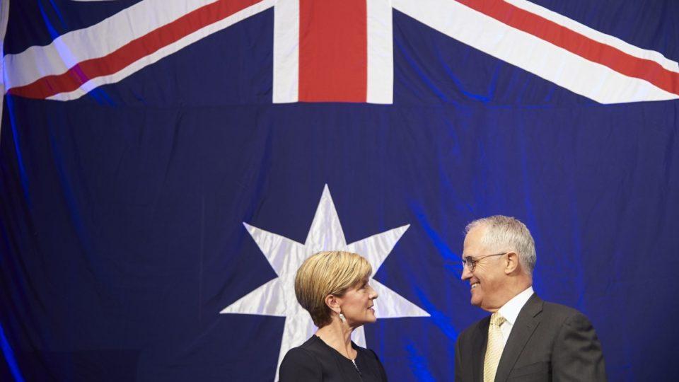 julie bishop turnbull australian flag