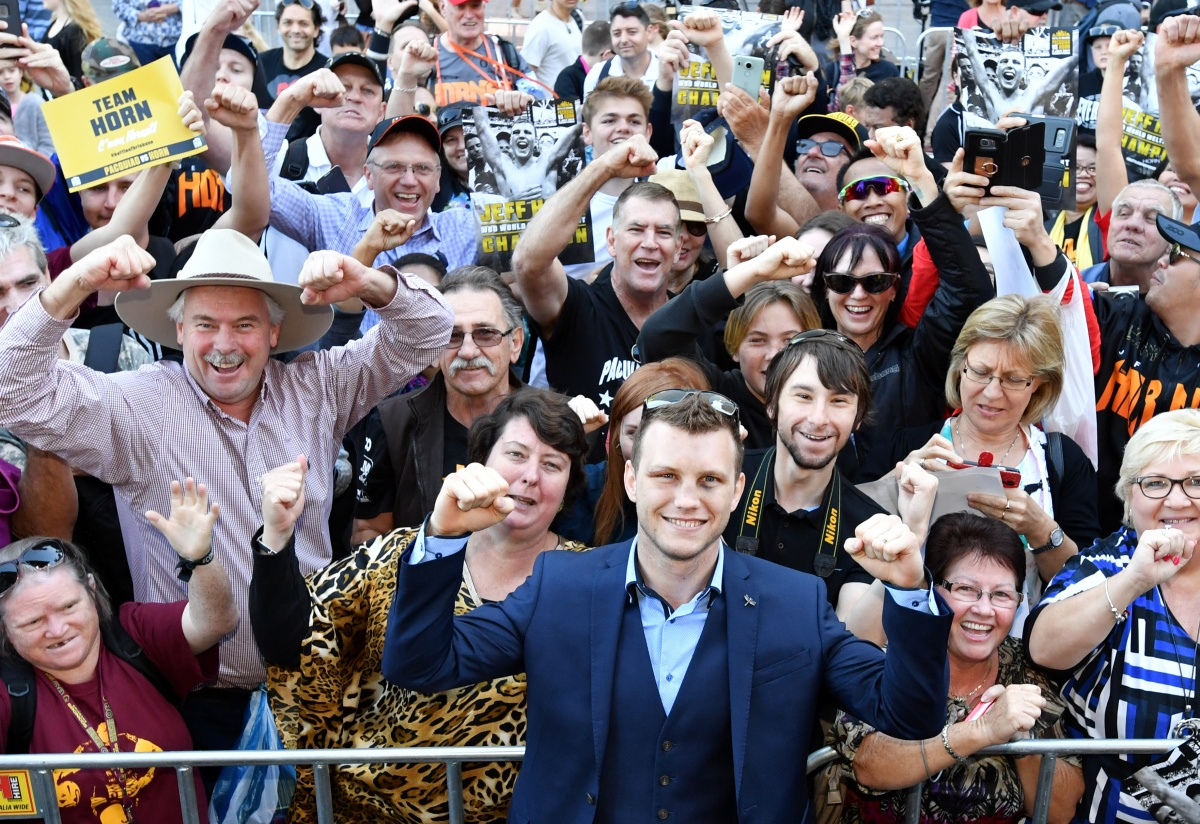 "Queenslanders chanted ""Hornet! Hornet!"" at a parade for boxer Jeff Horn"