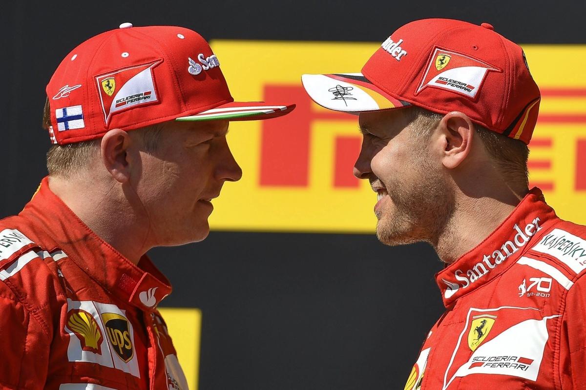 Valterri Bottas and Sebatian Vettel