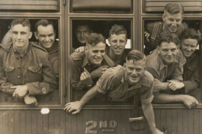Australian soldiers departing from Canberra railway station