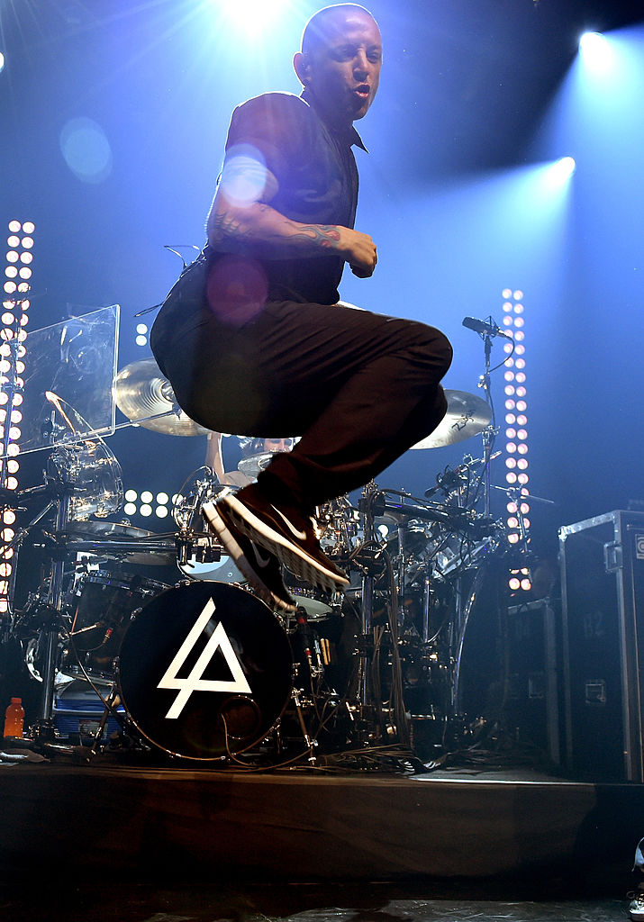 Bennington performs onstage during the iHeartRadio album release party with Linkin Park in 2014