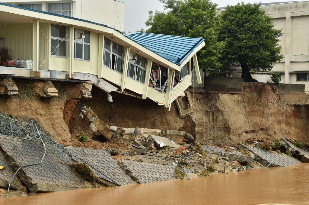 This picture shows Hiramatsu Junior High School damaged following heavy flooding in Asakura, Fukuoka