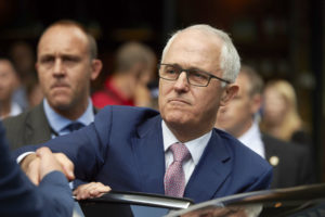 Mr Turnbull is pictured in London on Monday at the Borough Market