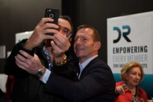 Tony Abbott poses for a selfie