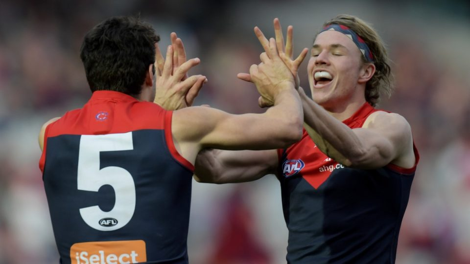 Jayden Hunt and Christian Petracca of the Melbourne Demons celebrate after a goal during the round 22