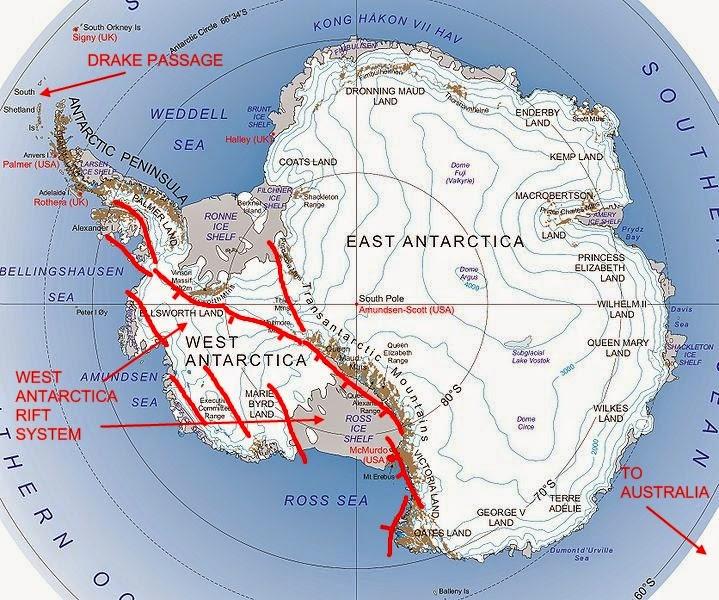 volcano in west antarctica Antarctic shelf crack lie: largest volcanic region on earth under west antarctica.