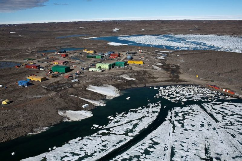 Aerial view of Davis research station, Antarctica