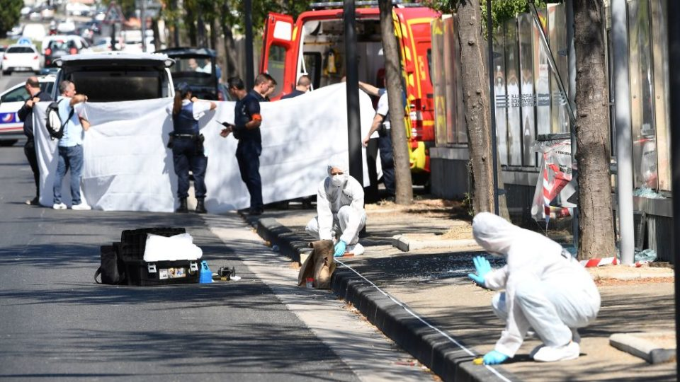 A woman has been killed in Marseille, France, after a car crashed into two bus shelters