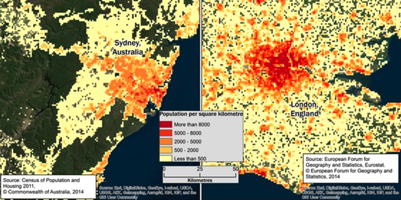 Population densities of Sydney and London