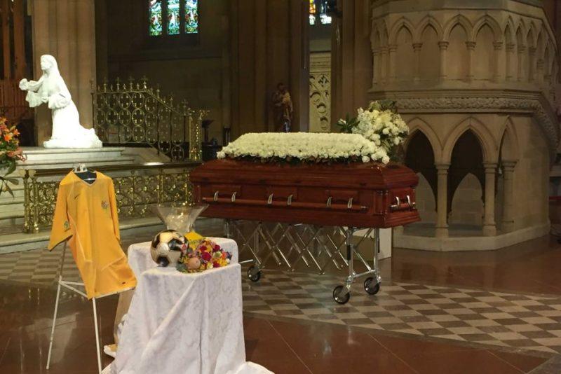 Memory table at Les Murray funeral