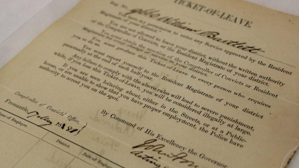 Ticket of leave William Bartlett