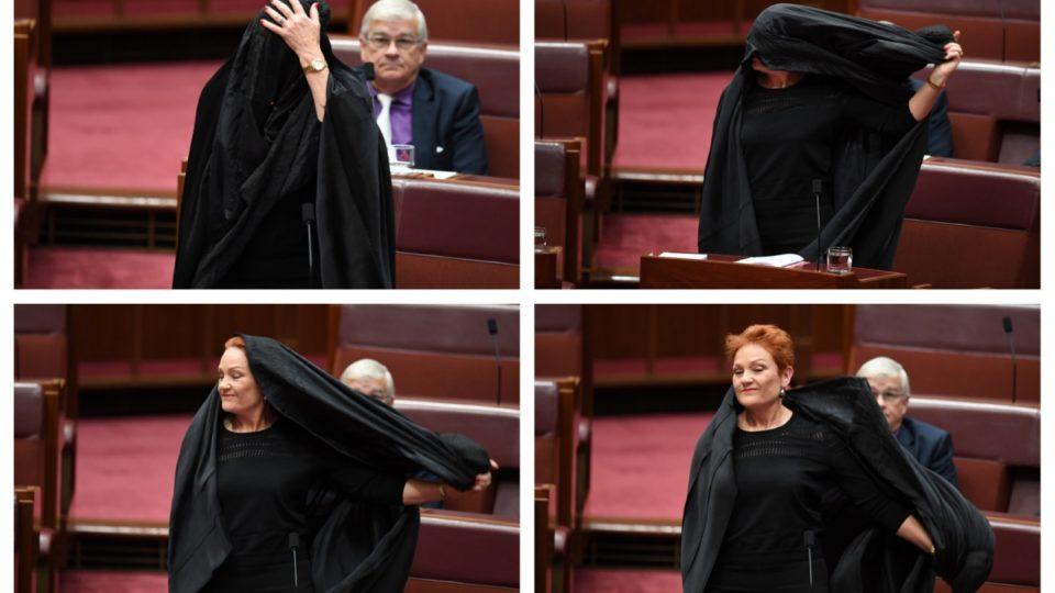 Australia: Right-wing leader Pauline Hanson wears black burqa in senate stunt