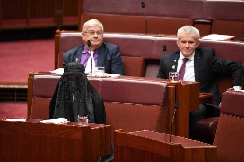 Pauline Hanson in burqa