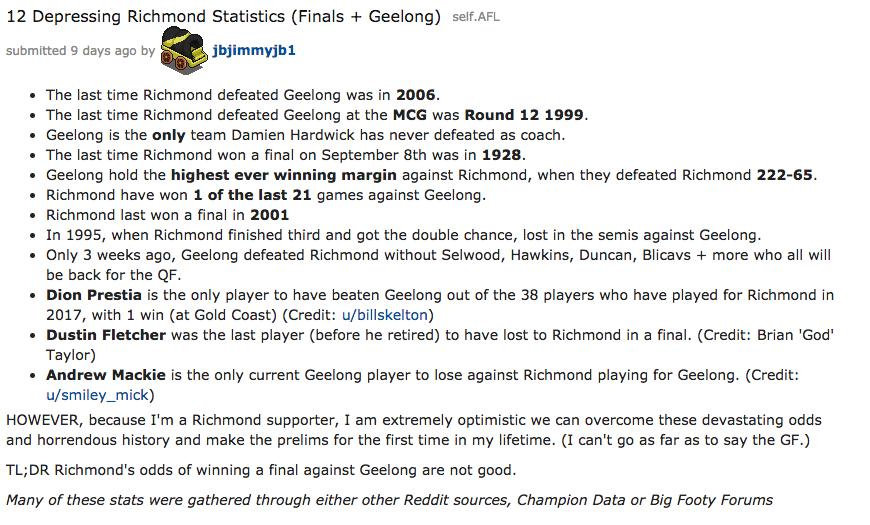 James Bradley dug into Richmond losses to Geelong on social media platform Reddit. Photo: James Bradley / Reddit