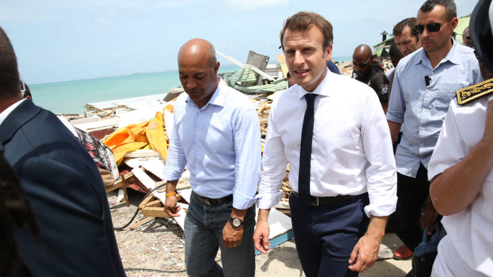 Emmanuel Macron (right), with Saint Martin President Daniel Gibbs (left) during his visit after Hurricane Irma.