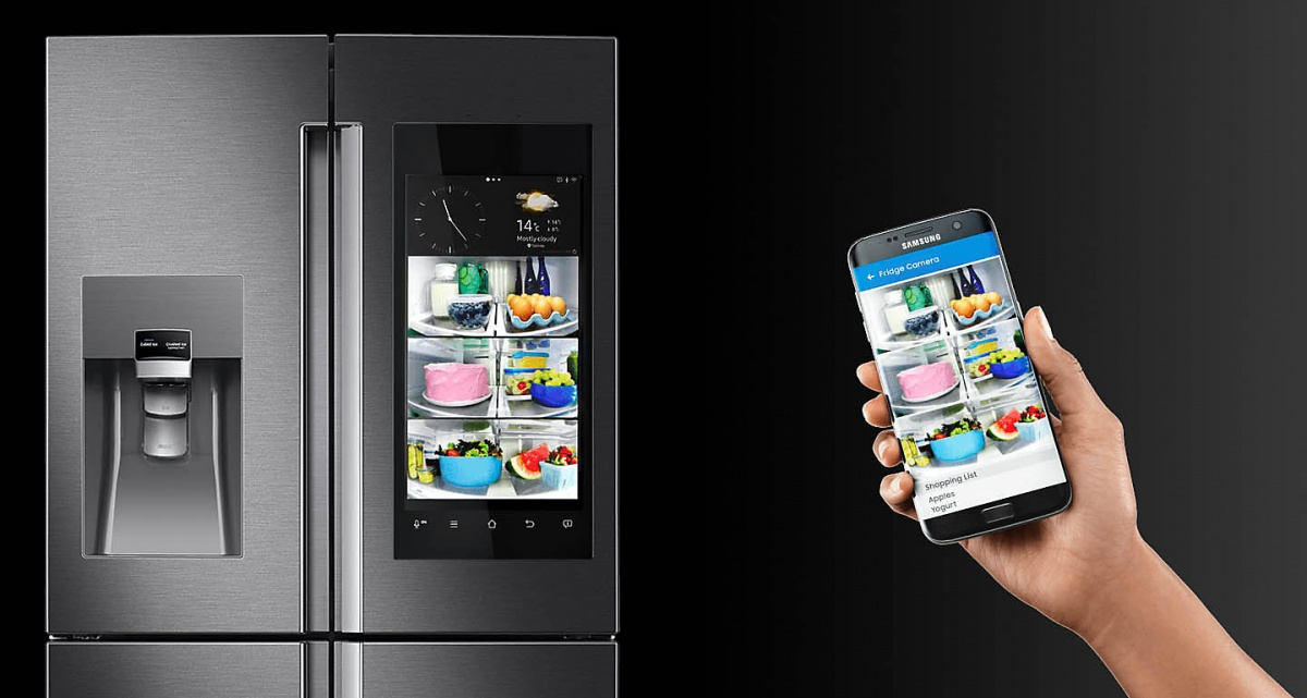 The Samsung Family Hub Fridge allows owners to check the contents of the fridge from a smartphone app.