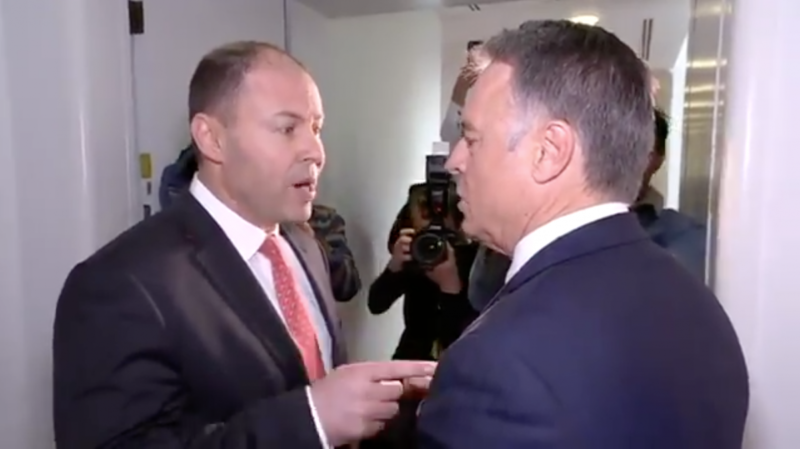 AGL Energy Minister Josh Frydenberg and Labor's Joel Fitzgibbon had a public stoush in the hallway.