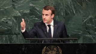 President of France Emmanuel Macron addresses the United Nations General Assembly at UN headquarters, September 19, 2017 in New York City.