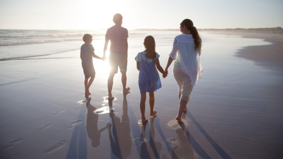 family law review - family walk along beach, parents and children