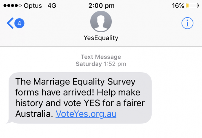 marriage equality postal vote same sex marriage survey text message