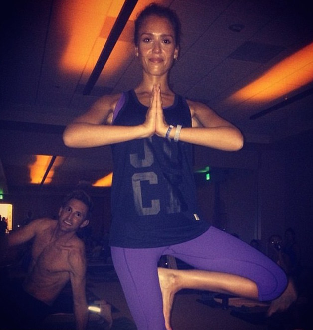 jessica alba doing yoga