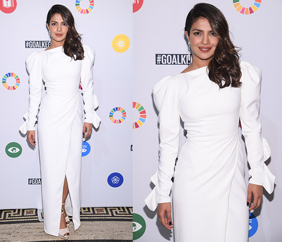 Priyanka Chopra in a white gown at a United Nations event in New York City.
