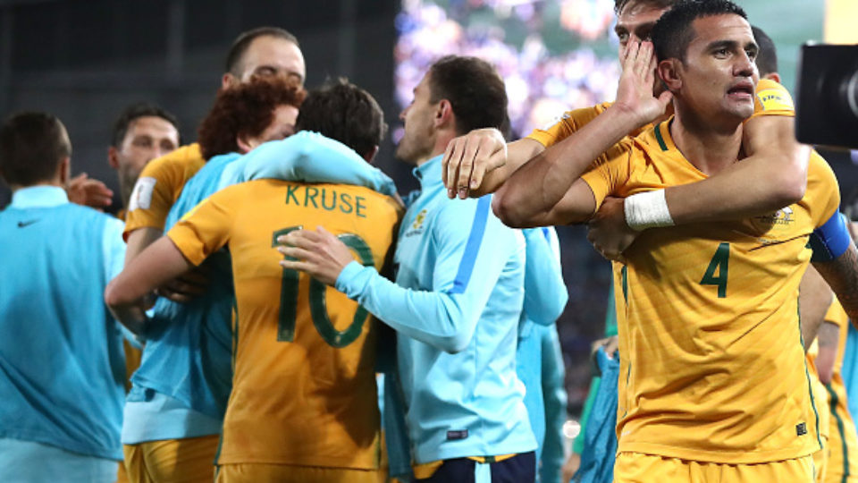 Tim Cahill celebrates after scoring the Socceroos second goal during the World Cup Asian Playoff match against Syria