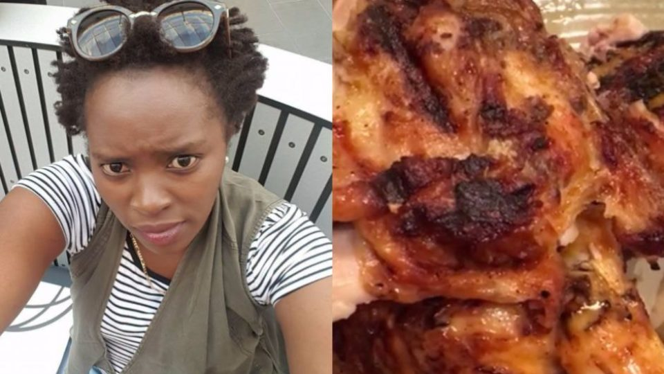Emy Wamboi and the chicken she was served