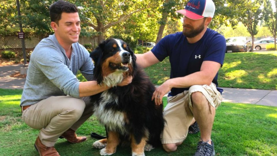 Moment men find family dog in California wildfire