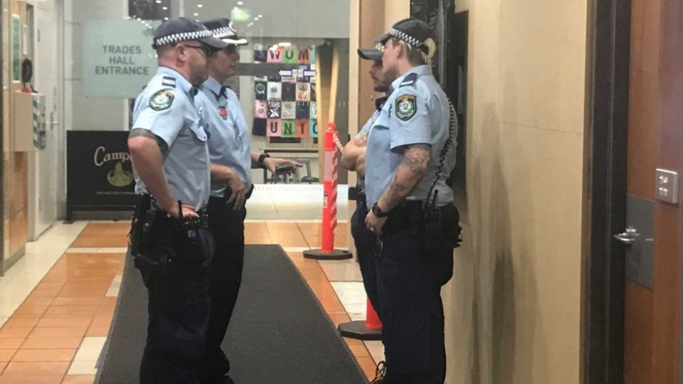 Police outside AWU offices