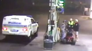 Police speak to a man who rode a lawnmower into a Tasmanian service station