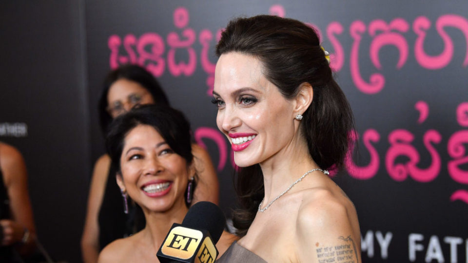 """Angelina Jolie (R) and author Loung Ung attend the """"First They Killed My Father"""" New York premiere at DGA Theater on September 14, 2017 in New York City. (Photo by Dia Dipasupil/Getty Images)"""
