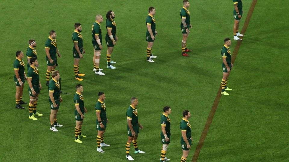 kangaroos do war cry before RLWC match