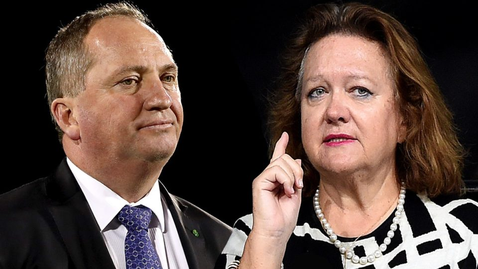 Gina Rinehart gives Barnaby Joyce $40,000 cheque