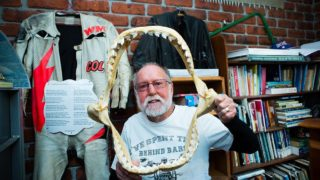 Col Meyers and the jaws of a tiger shark