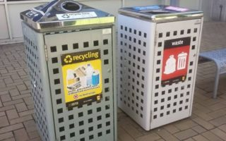 Council recycling and waste bins