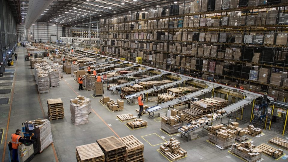 Amazon's fulfilment centre in Peterborough in the UK prepares for Black Friday.